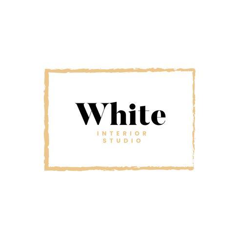 Weiße Innenstudio-Logoauslegung
