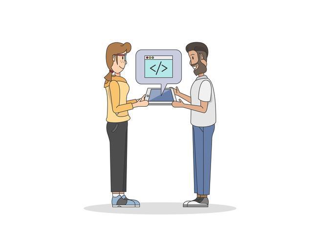 Illustrazione di due programmatori