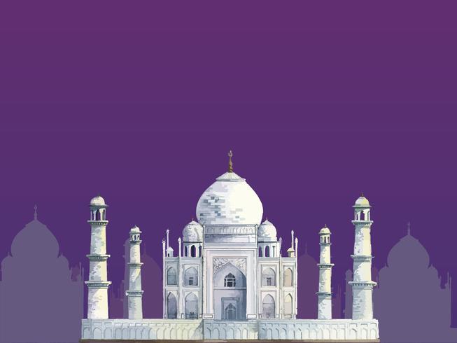 Le Taj Mahal peint à l'aquarelle