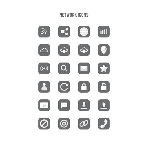 Set van netwerken lijn kunst iconen