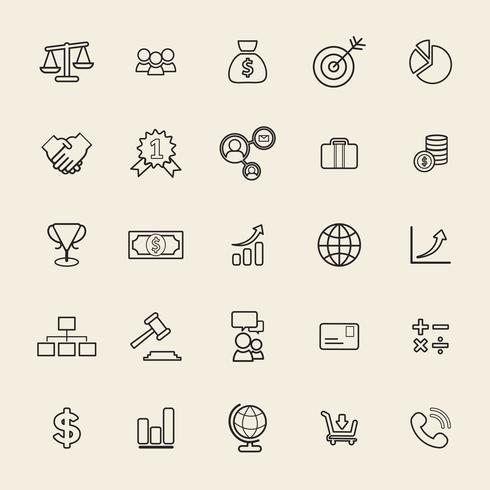 Illustratie van financiële pictogrammen instellen