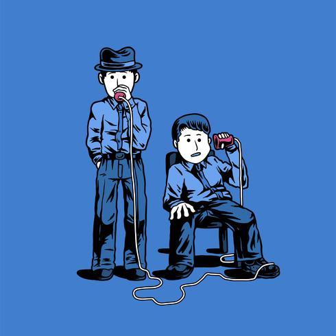 Deux détectives parlant à travers une illustration de tasses