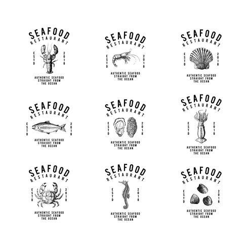 Set of food logo design vectors