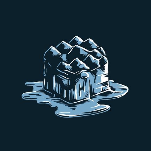 Smeltende ijsberg van de opwarming van de aarde effect illustratie