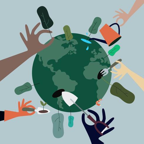 Gente plantando árboles en todo el mundo ilustración