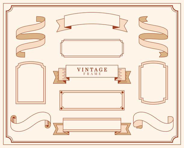 Samling av vintage prydnad ram illustration