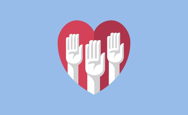 Volontaire les mains dans une illustration de coeur