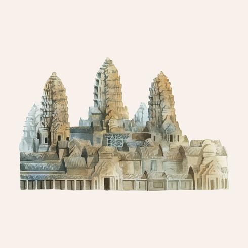 De Angkor Wat geschilderd door waterverf