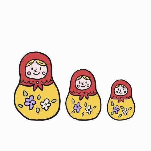 Muñeca de anidación rusa o ilustración matryoshka
