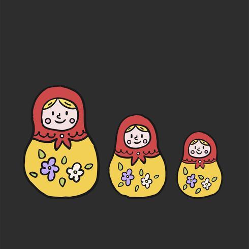Ryska nestande docka eller matryoshka illustration