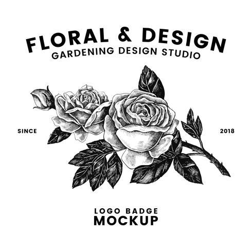 Jardinage et vecteur de conception de logo floral