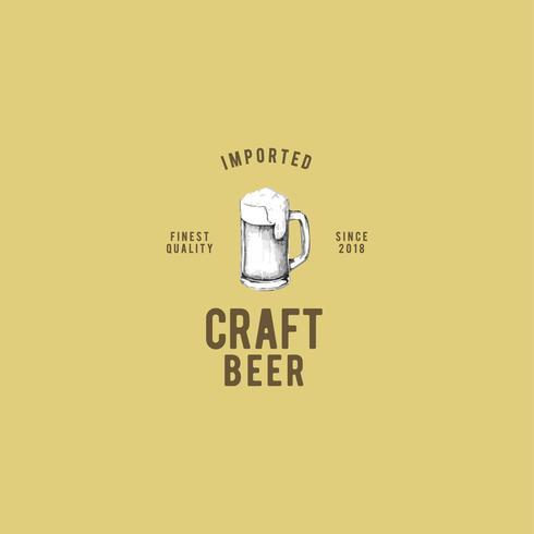 Vector de diseño de logotipo de cerveza artesanal