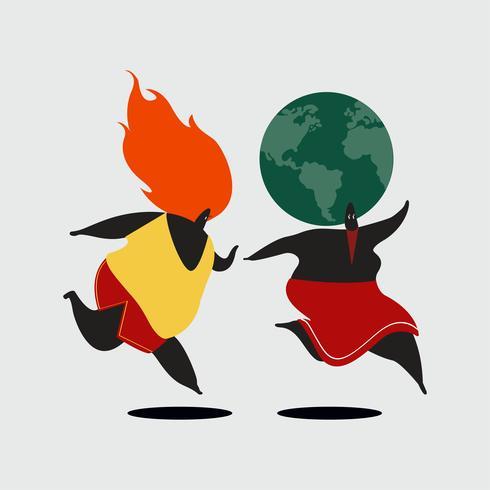 Planeta Terra sendo perseguida pela ilustração de aquecimento global