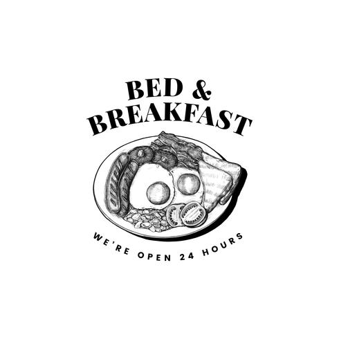 Bed and breakfast logo design vettoriale