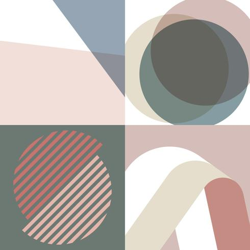 Earth tones Swiss graphic illustration set