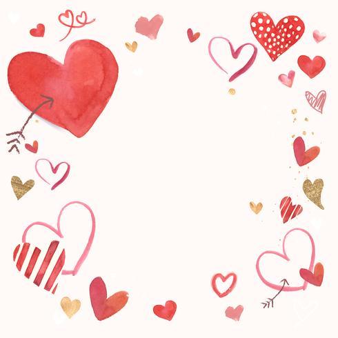 Ilustración de acuarela de frontera de San Valentín