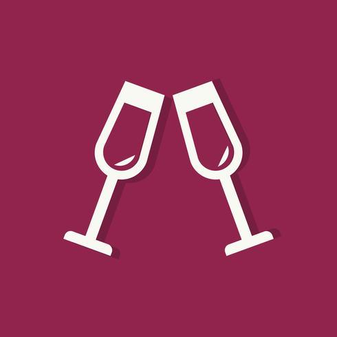 Champagne glasses Valentines day icon
