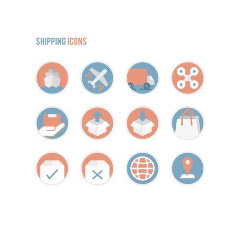 Set med logistiklinjekonst ikoner