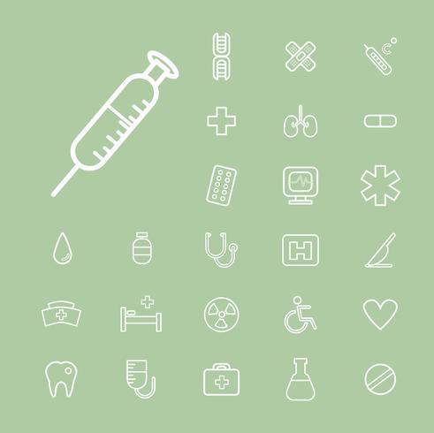 Illustratie van ziekenhuis pictogrammen instellen