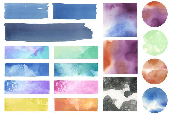 Ensemble de vecteur de correctifs aquarelle coloré