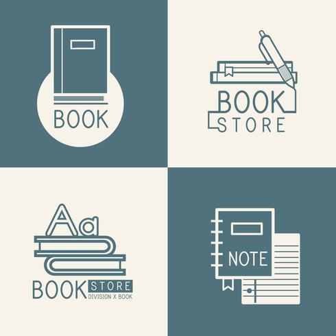 Bookstore-logo's en teken ingestelde vector