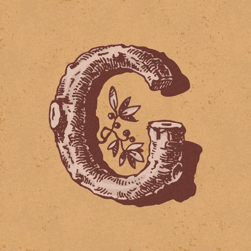 Huvudstämpel C vintage typografi stil