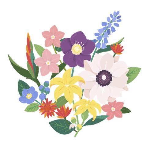Illustration av en bukett blommor