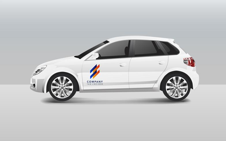 Vit hatchback bil design vektor