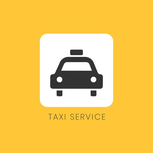 Yellow taxi service icon sign vector