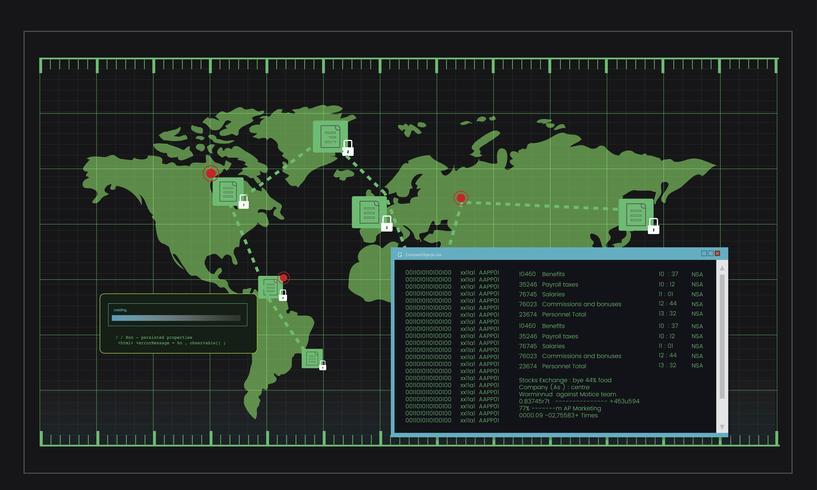 Ilustración del código informático de hacking.