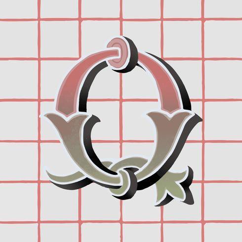 Vintage Typografieart des Großbuchstaben Q