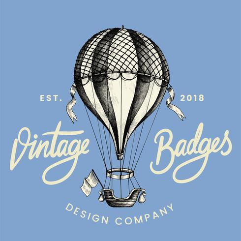 Weinlese-Ballonlogo-Designvektor