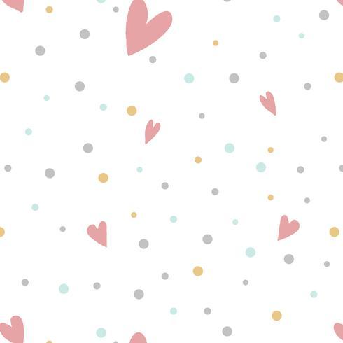 Coloridos lunares con corazones vector