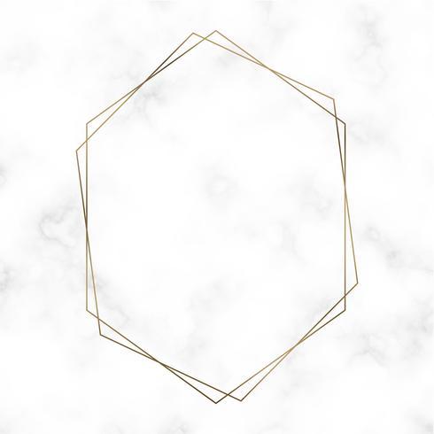Vector de plantilla de marco hexagonal de oro