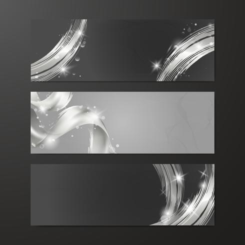 Silver wave abstract background set