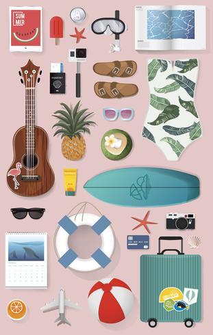 Illustration of summer packing stuff