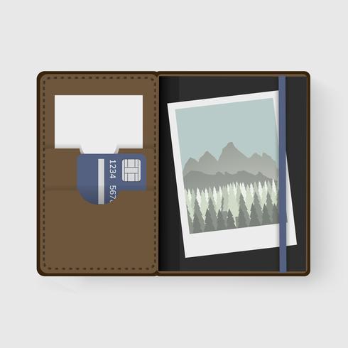Foto e carta nel vettore dell'illustrazione del grafico del portafoglio