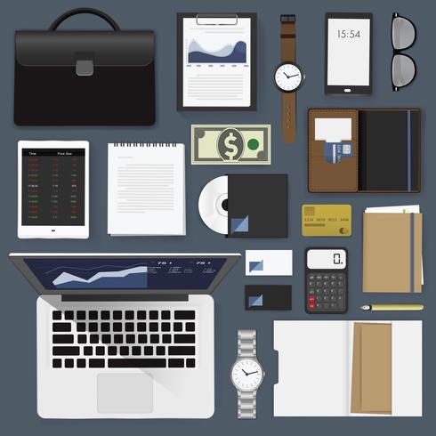 Illustratie van bedrijfs geplaatste pictogrammen