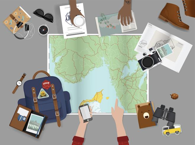 Illustratie van de planning voor een reis