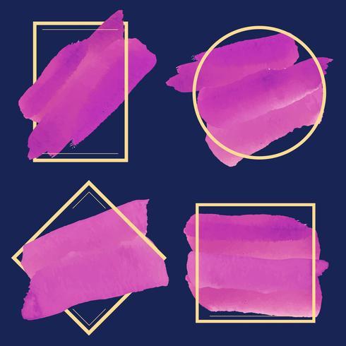 Set van magenta aquarel banner ontwerp vector