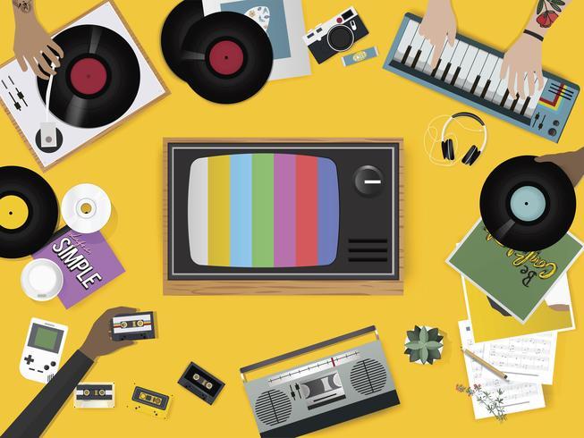 Ilustração do conjunto de coisas de entretenimento de música vintage