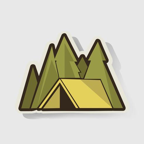 Gul Tält med Pine Trees Camping Grafisk Illustration Vektor