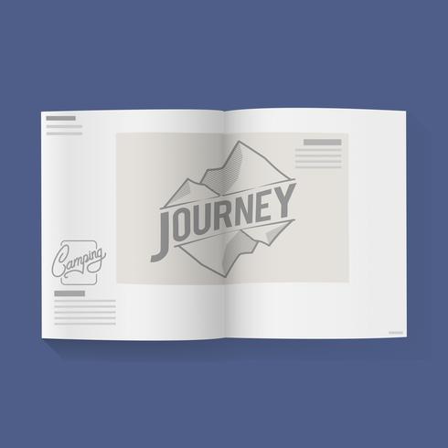 Palavra de viagem no vetor de ilustração gráfica de livro aberto