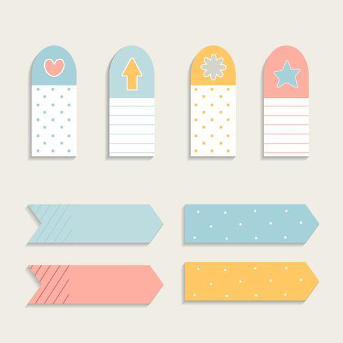 Conjunto de nota auto-adesiva colorida