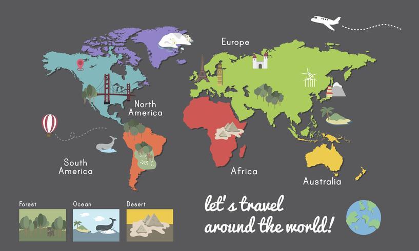 Illustratie van geïsoleerde wereldkaart