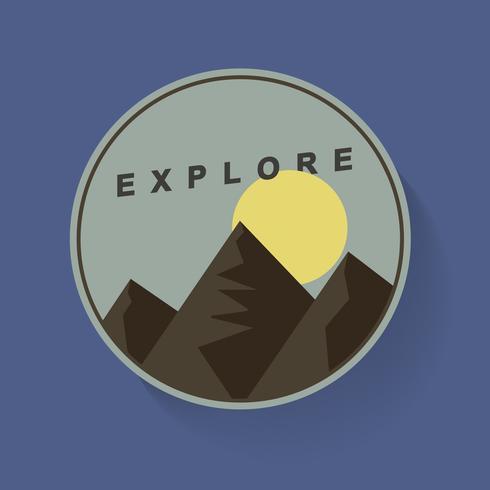 Montaña y Luna Naturaleza Viajar Explorar Ilustración Gráfica Vector