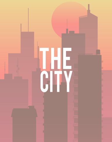 Illustration de la ville avec fond de construction