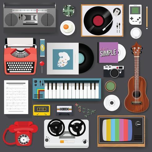 Illustratie van vintage muziek entertainment stuff set