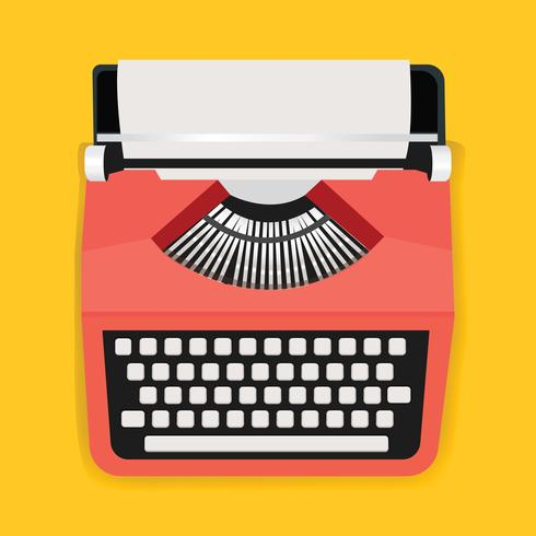 Retro Typewriter Machine Icon Illustration Vector