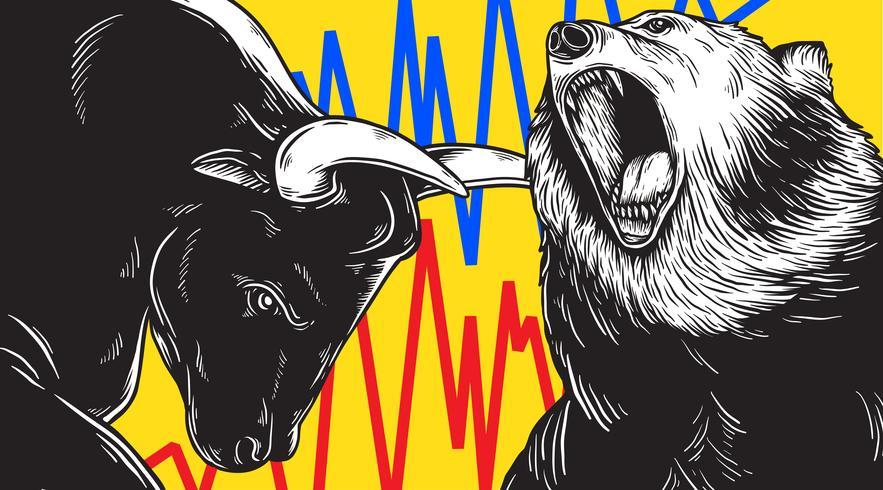 Bull en Bear Market Investment Business Icon Concept